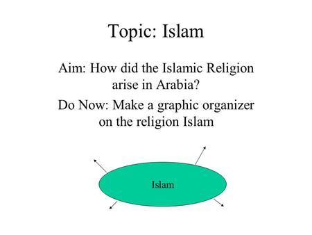 Topic: Islam Aim: How did the Islamic Religion arise in Arabia? Do Now: Make a graphic organizer on the religion Islam Islam.