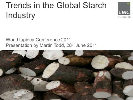 Trends in the Global Starch Industry World tapioca Conference 2011 Presentation by Martin Todd, 28 th June 2011.