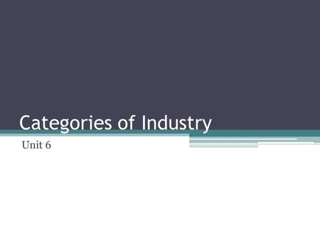Categories of Industry Unit 6. Categories of Industry Primary sector ▫Extractive industries Secondary sector ▫Manufacturing and construction Tertiary.