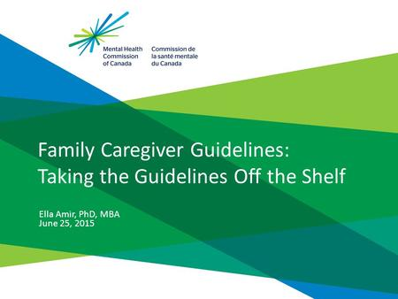 Family Caregiver Guidelines: Taking the Guidelines Off the Shelf Ella Amir, PhD, MBA June 25, 2015.