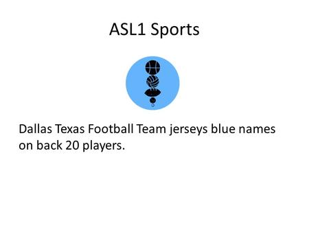 ASL1 Sports Dallas Texas Football Team jerseys blue names on back 20 players.