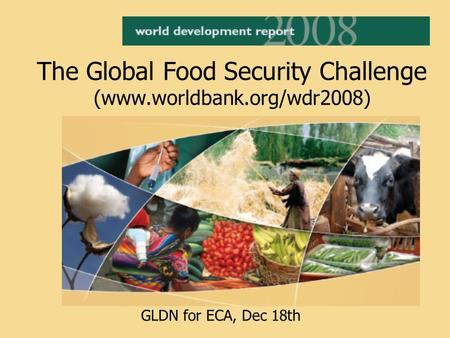The Global Food Security Challenge (www.worldbank.org/wdr2008) GLDN for ECA, Dec 18th.