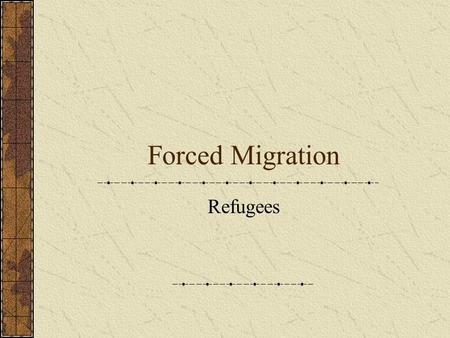 Forced Migration Refugees. Forced Migration Major forced migrations in the 1980s and 1990s are Rwanda, Afghanistan, Bosnia, Kosovo and Chechnya. UNHCR.