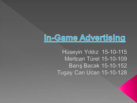  In-game advertising is serving ads into a game environment. For some 3D games, in- game ads appear as posters or billboards in the virtual world. For.