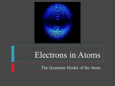 Electrons in Atoms The Quantum Model of the Atom.