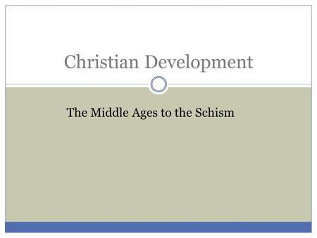 Christian Development The Middle Ages to the Schism.