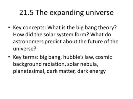 21.5 The expanding universe
