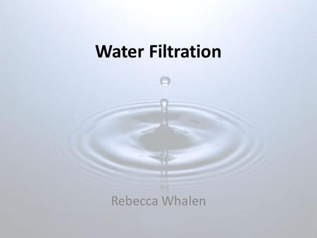 Water Filtration Rebecca Whalen. Background Information Water sources: Ground, Surface Water quality: influenced by pollution Forms of pollution: bacteria,