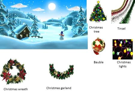 Christmas tree Tinsel Bauble Christmas lights Christmas wreath Christmas garland.