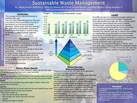 Sustainable Waste Management By Sustainable Waste Management By: Shane Doolin (0840441); Patricia Lehane (0837208); Gerard.