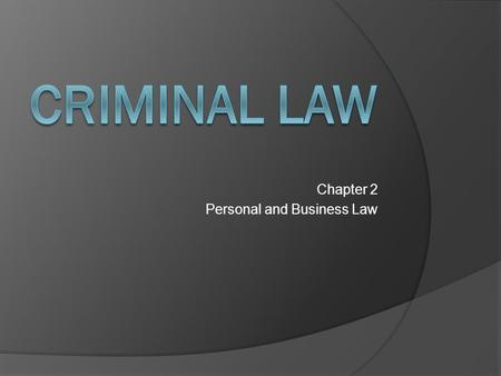 Chapter 2 Personal and Business Law. Spirit of the Law  When people commit crimes, they harm not only individuals, but also society as a whole.  Crime.