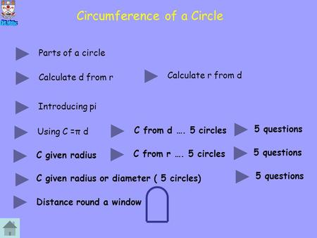 Circumference of a Circle Parts of a circle Calculate d from r Calculate r from d Introducing pi Using C =π d C from d …. 5 circles C given radius 5 questions.