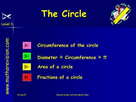 Level 3 14-Aug-15Created by Mr. Lafferty Maths Dept. The Circle Circumference of the circle Diameter = Circumference ÷ π www.mathsrevision.com Area of.