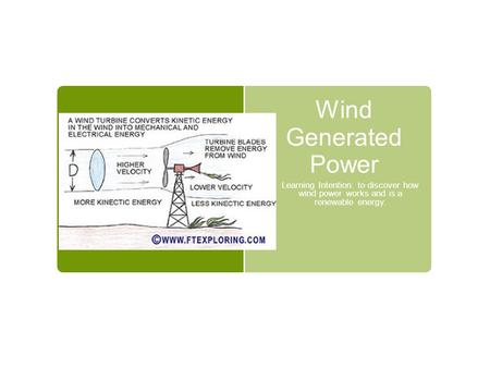 Wind Generated Power Learning Intention: to discover how wind power works and is a renewable energy.