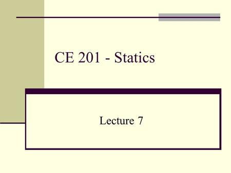 CE 201 - Statics Lecture 7. EQUILIBRIUM OF A PARTICLE CONDITION FOR THE EQUILIBRIUM OF A PARTICLE A particle is in EQUILIBRIUM if: 1. it is at rest, OR.