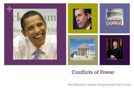 + Conflicts of Power The President versus Congress and the Courts.