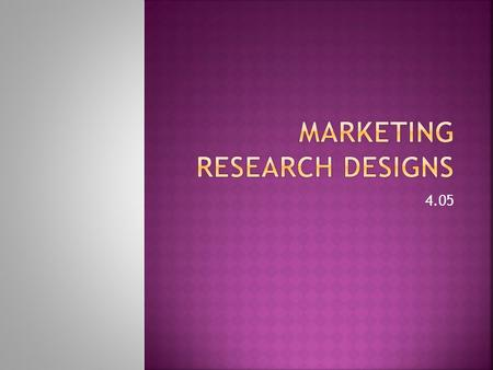 Marketing Research Designs