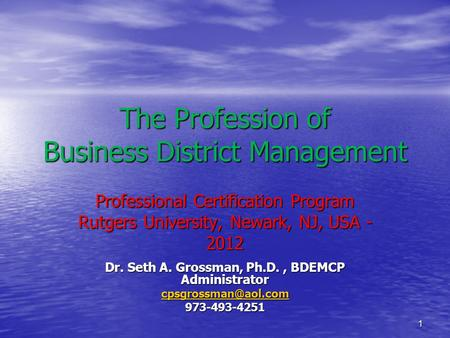 1 The Profession of Business District Management Professional Certification Program Rutgers University, Newark, NJ, USA - 2012 Dr. Seth A. Grossman, Ph.D.,