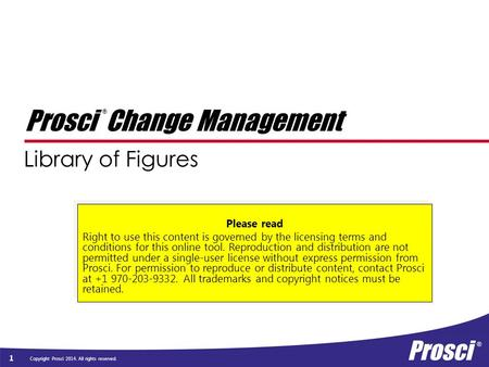 Copyright Prosci 2014. All rights reserved. Library of Figures 1 Prosci Change Management ® Please read Right to use this content is governed by the licensing.