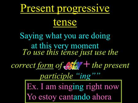 To use this tense just use the correct form of + the present participle ing Present progressive tense Saying what you are doing at this very moment Ex.