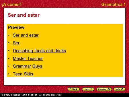 Ser and estar Preview Ser and estar Ser Describing foods and drinks