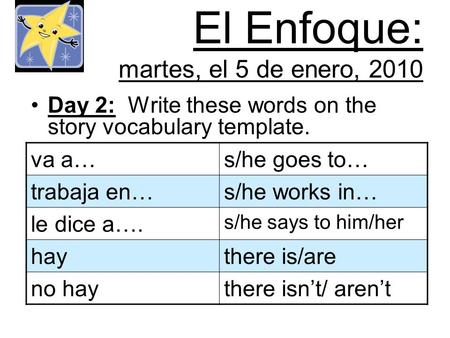 El Enfoque: martes, el 5 de enero, 2010 Day 2: Write these words on the story vocabulary template. va a…s/he goes to… trabaja en…s/he works in… le dice.