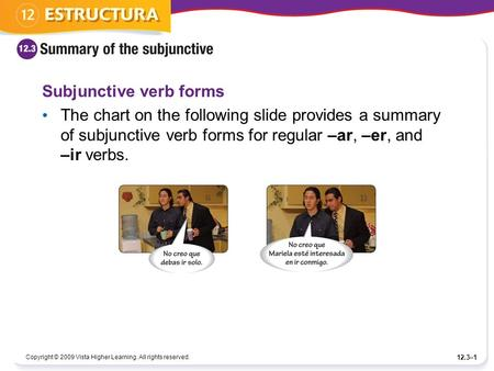 Copyright © 2009 Vista Higher Learning. All rights reserved. 12.3–1 Subjunctive verb forms The chart on the following slide provides a summary of subjunctive.