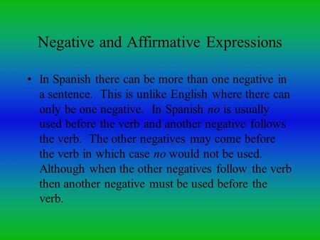 Negative and Affirmative Expressions