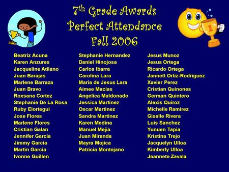7th Grade Awards Perfect Attendance Fall 2006