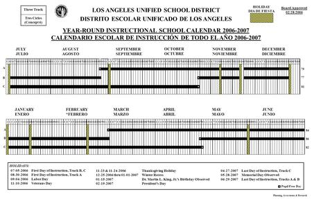 JULY JULIO AUGUST AGOSTO SEPTEMBER SEPTIEMBRE OCTOBER OCTUBRE NOVEMBER NOVIEMBRE DECEMBER DICIEMBRE LOS ANGELES UNIFIED SCHOOL DISTRICT DISTRITO ESCOLAR.