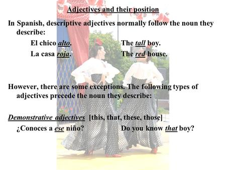 Adjectives and their position