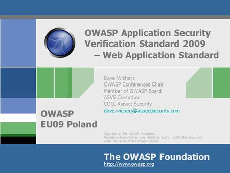 OWASP Application Security Verification Standard 2009