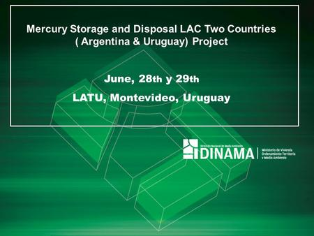 Mercury Storage and Disposal LAC Two Countries ( Argentina & Uruguay) Project June, 28 th y 29 th LATU, Montevideo, Uruguay.