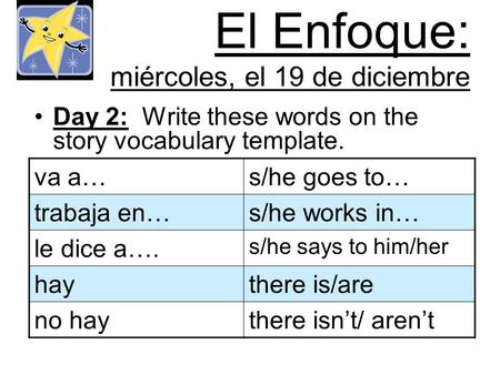 El Enfoque: miércoles, el 19 de diciembre Day 2: Write these words on the story vocabulary template. va a…s/he goes to… trabaja en…s/he works in… le dice.