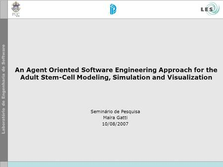 An Agent Oriented Software Engineering Approach for the Adult Stem-Cell Modeling, Simulation and Visualization Seminário de Pesquisa Maíra Gatti 10/08/2007.