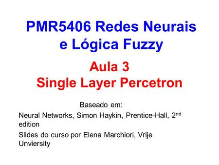 Aula 3 Single Layer Percetron