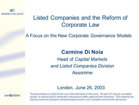 Listed Companies and the Reform of Corporate Law