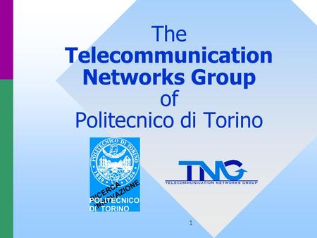 1 The Telecommunication Networks Group of Politecnico di Torino.