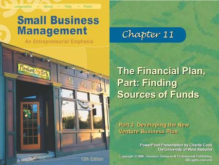 The Financial Plan, Part: Finding Sources of Funds