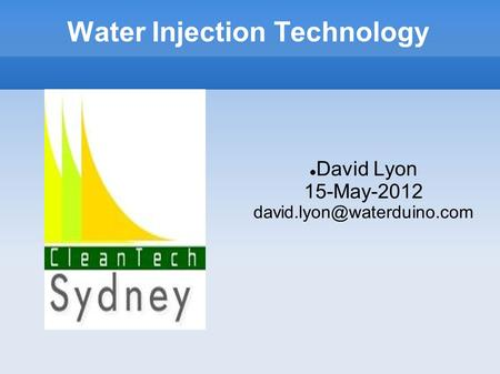 Water Injection Technology