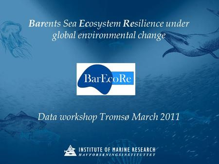Bar ents Sea Ec osystem Re silience under global environmental change Data workshop Tromsø March 2011.