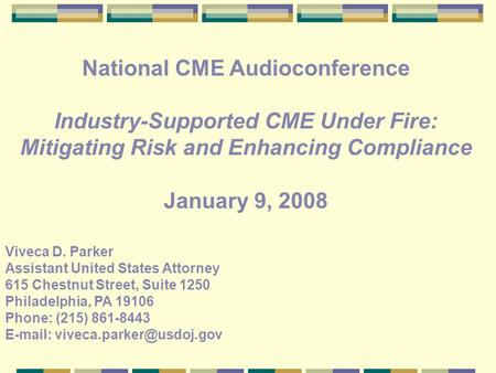 National CME Audioconference