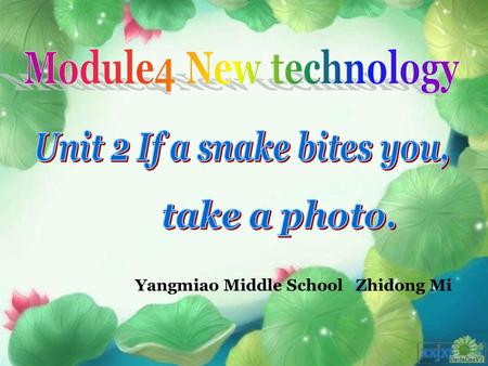 Yangmiao Middle School Zhidong Mi. What can we do with a mobile phone?