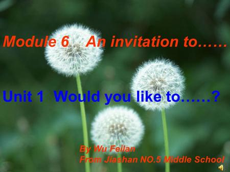 Module 6 An invitation to…… Unit 1 Would you like to……? By Wu Feilan From Jiashan NO.5 Middle School.