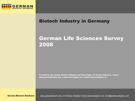 German Biotech Database  | c/o Venture Valuation |  | Biotech Industry in Germany.