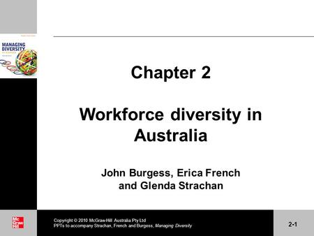 . Copyright 2010 McGraw-Hill Australia Pty Ltd PPTs to accompany Strachan, French and Burgess, Managing Diversity 2-1 Chapter 2 Workforce diversity in.