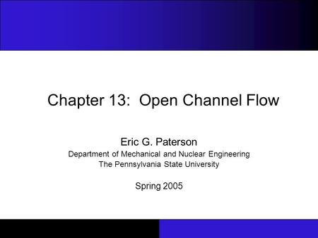 Chapter 13: Open Channel Flow