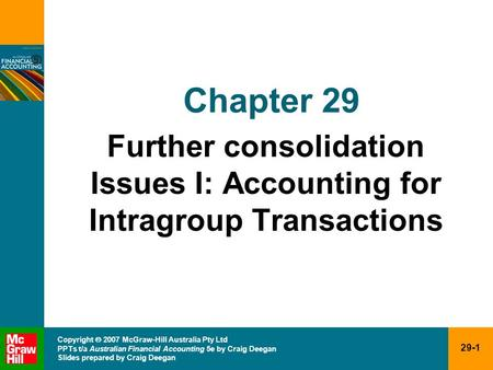 Further consolidation Issues I: Accounting for Intragroup Transactions
