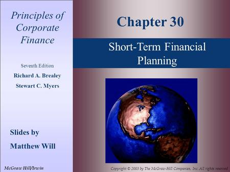 Chapter 30 Short-Term Financial Planning
