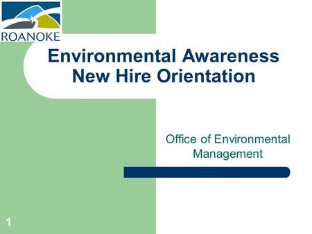 Environmental Awareness New Hire Orientation